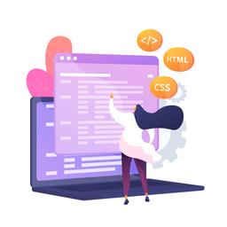 """Ilustração de uma menina com o cabelo azul voando, blusa branca e calça roxa, em pé, na frente de uma tela de notebook e três balõezinhos amarelos voando, escritos """"""""(código de programação), """"CSS"""" e """"HTML""""."""