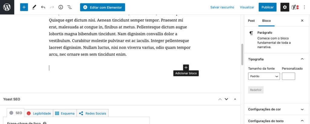 Imagem mostrando a opção ADICIONAR BLOCO do gutenberg