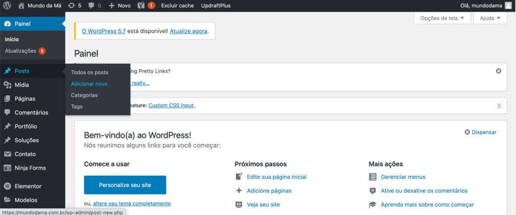 Imagem evidenciando o menu POSTS do wordpress