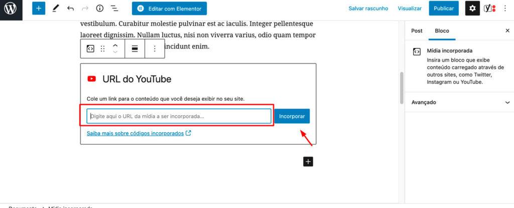 Imagem mostrando como utilizar o elemento URL DO YOUTUBE