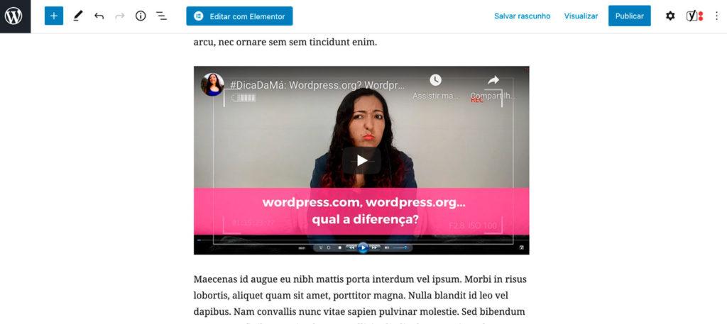 Imagem exemplificando um post com blocos de parágrafos e vídeos.