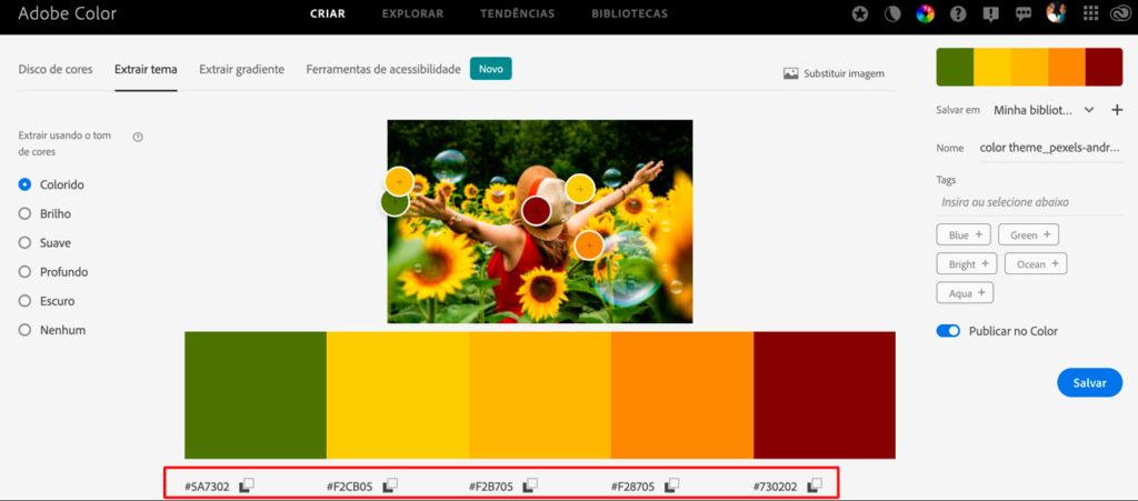 Print de tela da ferramenta Color Adobe estraindo a paleta de cores de uma paisagem de um campo de girassóis com muito verde, amarelo e laranja e ao centro uma moça de costas usando um chapéu de palha