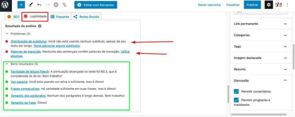 Imagem evidenciando as dicas de SEO do plugin YOAST