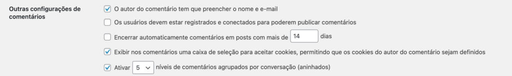 """Print da tela de CONFIGURAÇÕES -> DISCUSSÃO, sessão """"Outras configurações de comentários"""""""