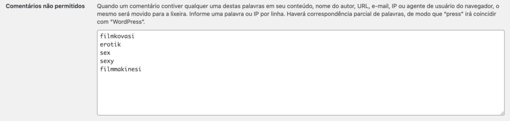 """Print da tela de CONFIGURAÇÕES -> DISCUSSÃO, sessão """"Comentários não permitidos"""""""