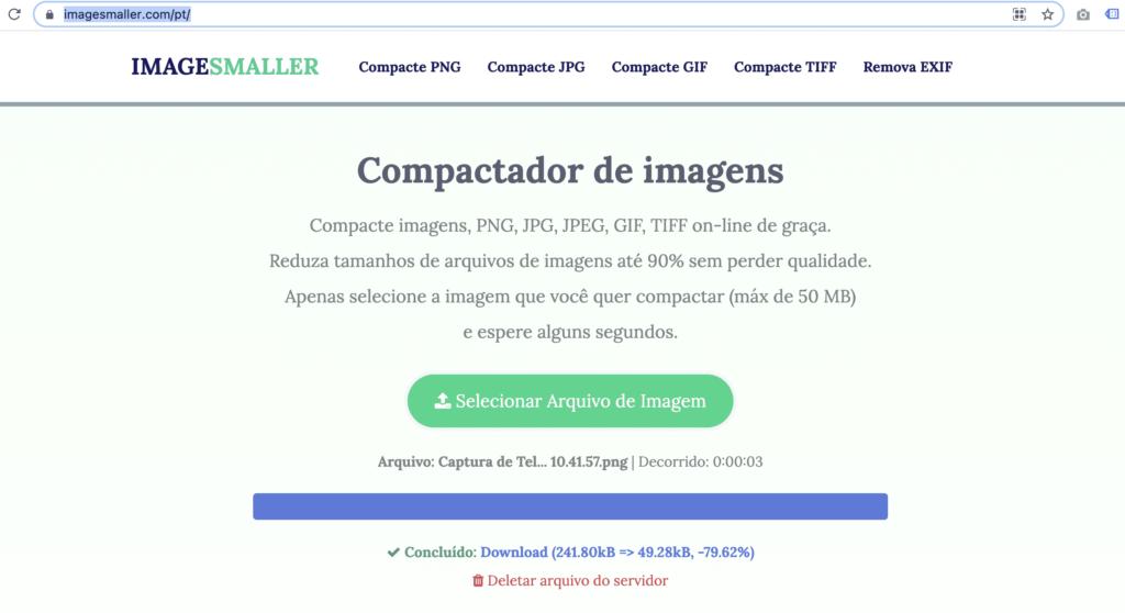 Imagem com o print da tela do site ImageSmaller