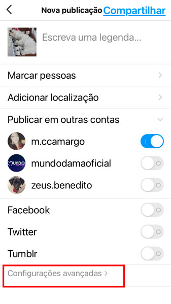 Print da tela de publicação do instagram com as CONFIGURAÇÕES AVANÇADAS com borda vermelha