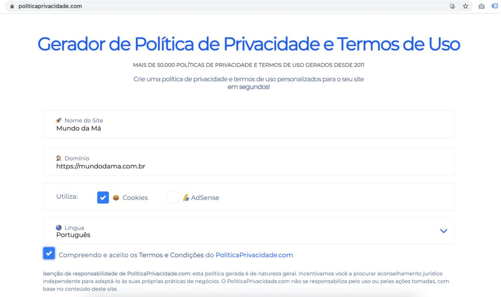 Imagem com o Print da Tela do Gerador de Política de Privacidade e Termos de Uso